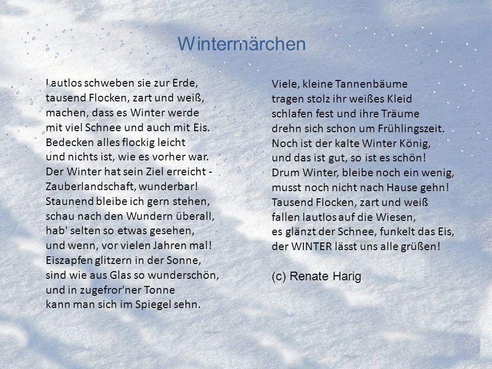 Wintermärchen Lautlos schweben sie zur Erde, tausend Flocken, zart und weiß, machen, dass es Winter werde mit viel Schnee und auch mit Eis.