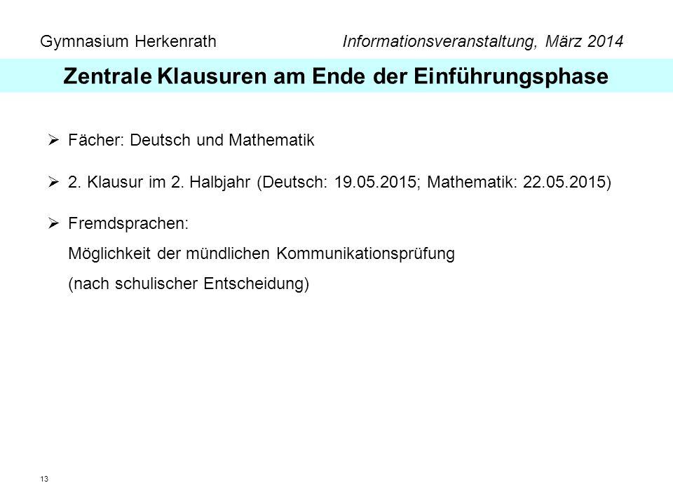 Gymnasium Herkenrath Informationsveranstaltung, März 2014 13 Fächer: Deutsch und Mathematik 2. Klausur im 2. Halbjahr (Deutsch: 19.05.2015; Mathematik
