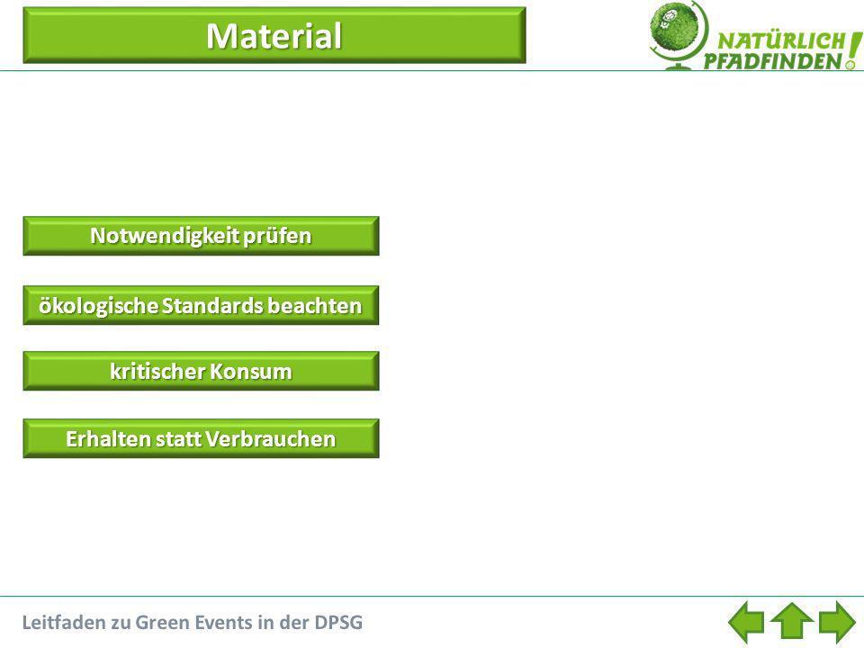 Material Notwendigkeit prüfen Notwendigkeit prüfen ökologische Standards beachten ökologische Standards beachten kritischer Konsum kritischer Konsum Erhalten statt Verbrauchen Erhalten statt Verbrauchen Leitfaden zu Green Events in der DPSG