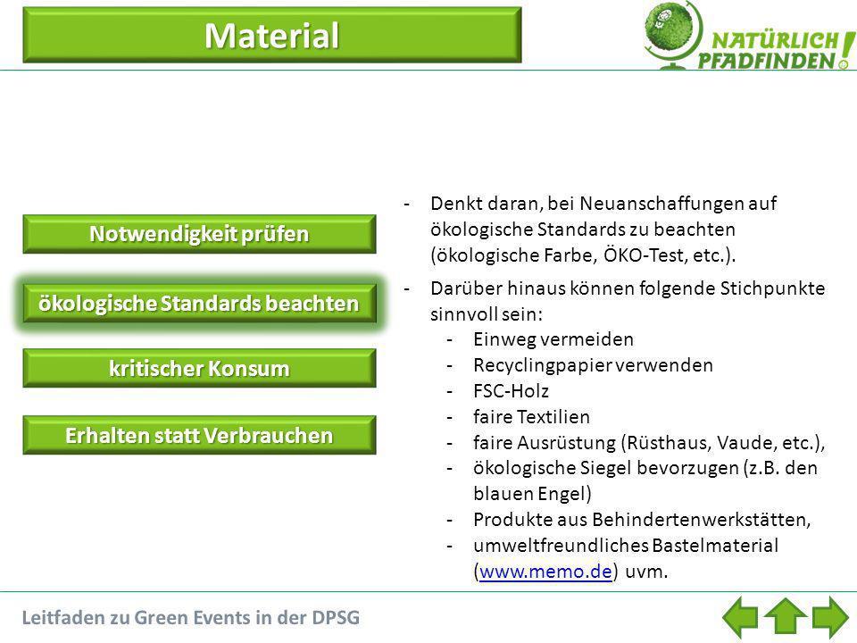 Material Notwendigkeit prüfen Notwendigkeit prüfen ökologische Standards beachten kritischer Konsum kritischer Konsum Erhalten statt Verbrauchen Erhal