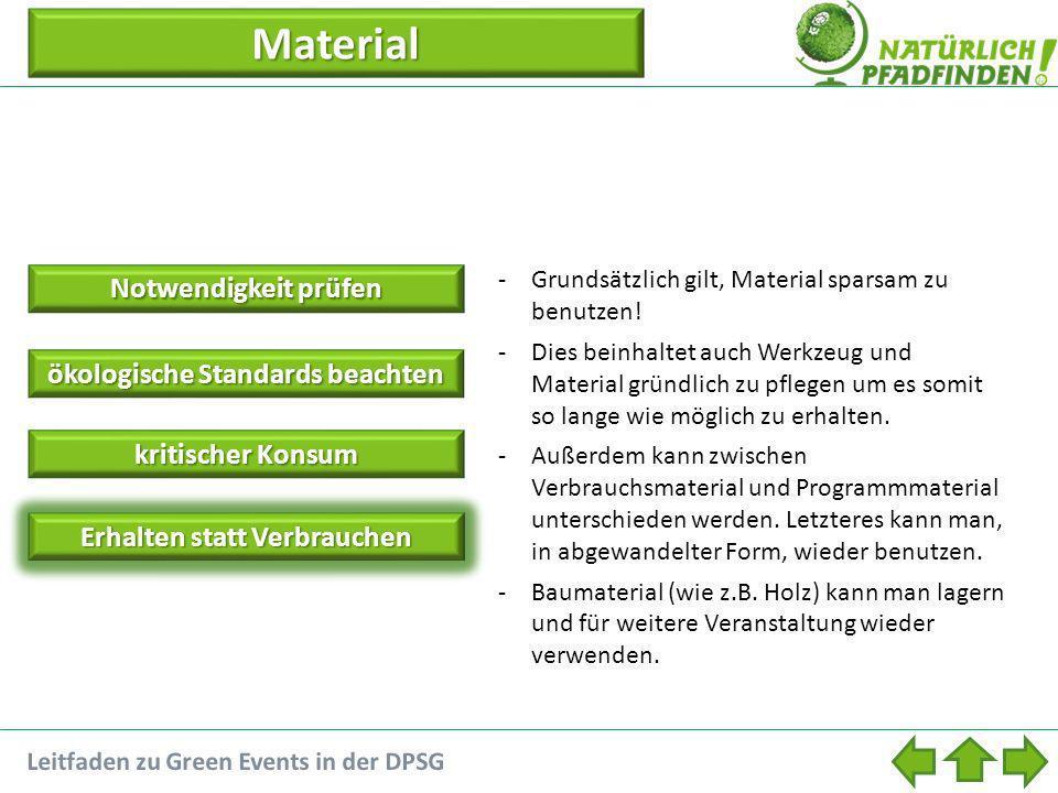 Material Notwendigkeit prüfen Notwendigkeit prüfen ökologische Standards beachten ökologische Standards beachten kritischer Konsum kritischer Konsum Erhalten statt Verbrauchen -Grundsätzlich gilt, Material sparsam zu benutzen.