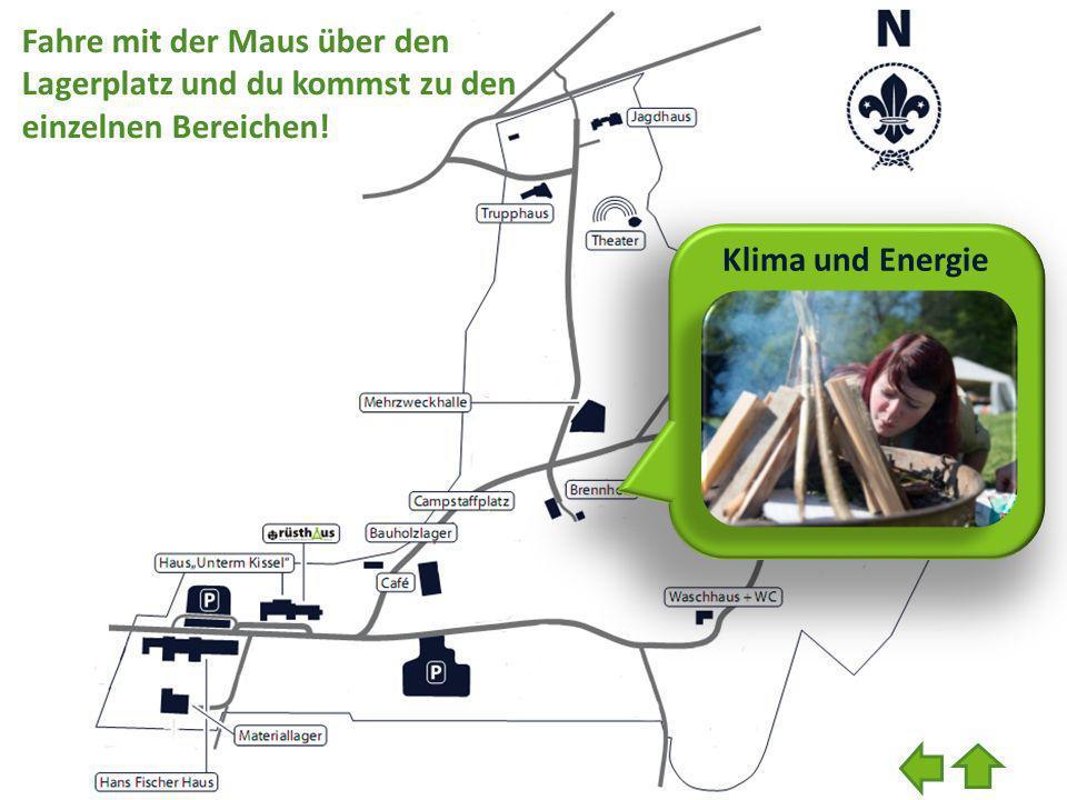 Klima und Energie Fahre mit der Maus über den Lagerplatz und du kommst zu den einzelnen Bereichen!