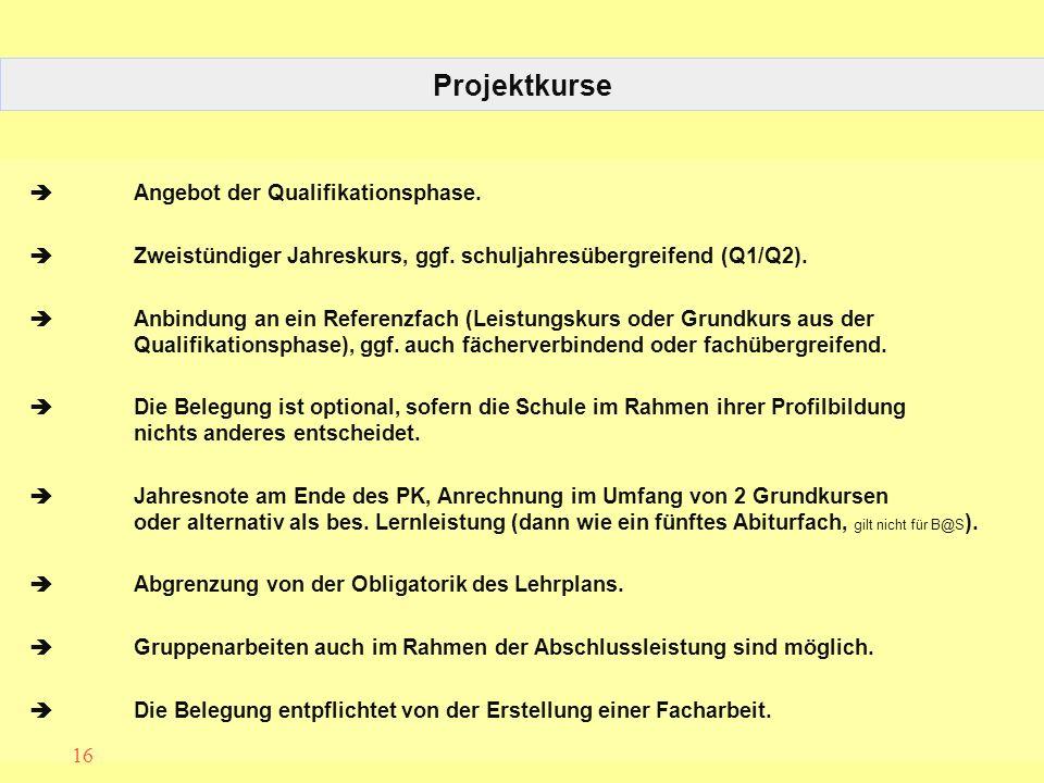 16 Angebot der Qualifikationsphase. Zweistündiger Jahreskurs, ggf. schuljahresübergreifend (Q1/Q2). Anbindung an ein Referenzfach (Leistungskurs oder
