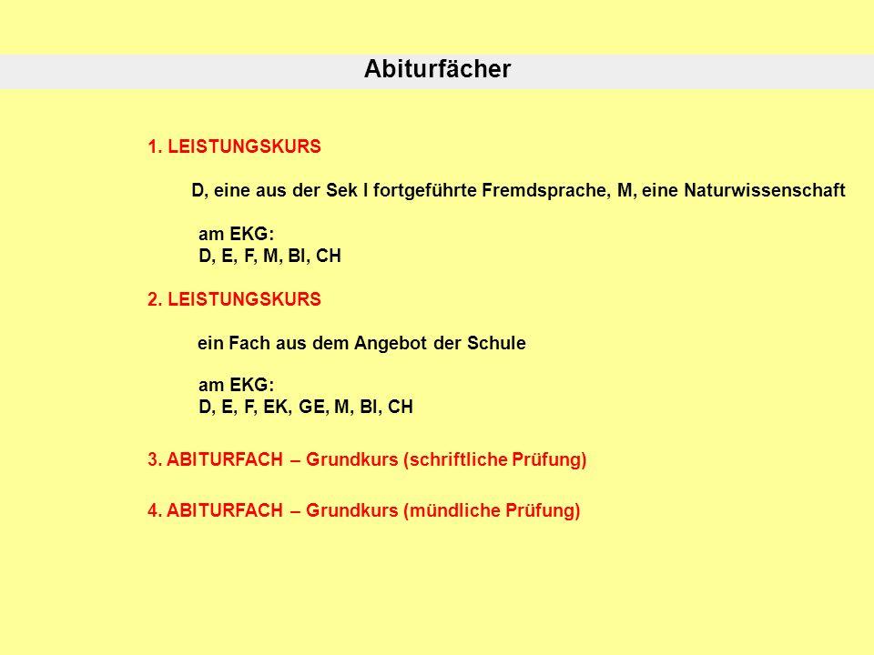 Abiturfächer 1. LEISTUNGSKURS D, eine aus der Sek I fortgeführte Fremdsprache, M, eine Naturwissenschaft am EKG: D, E, F, M, BI, CH 2. LEISTUNGSKURS e