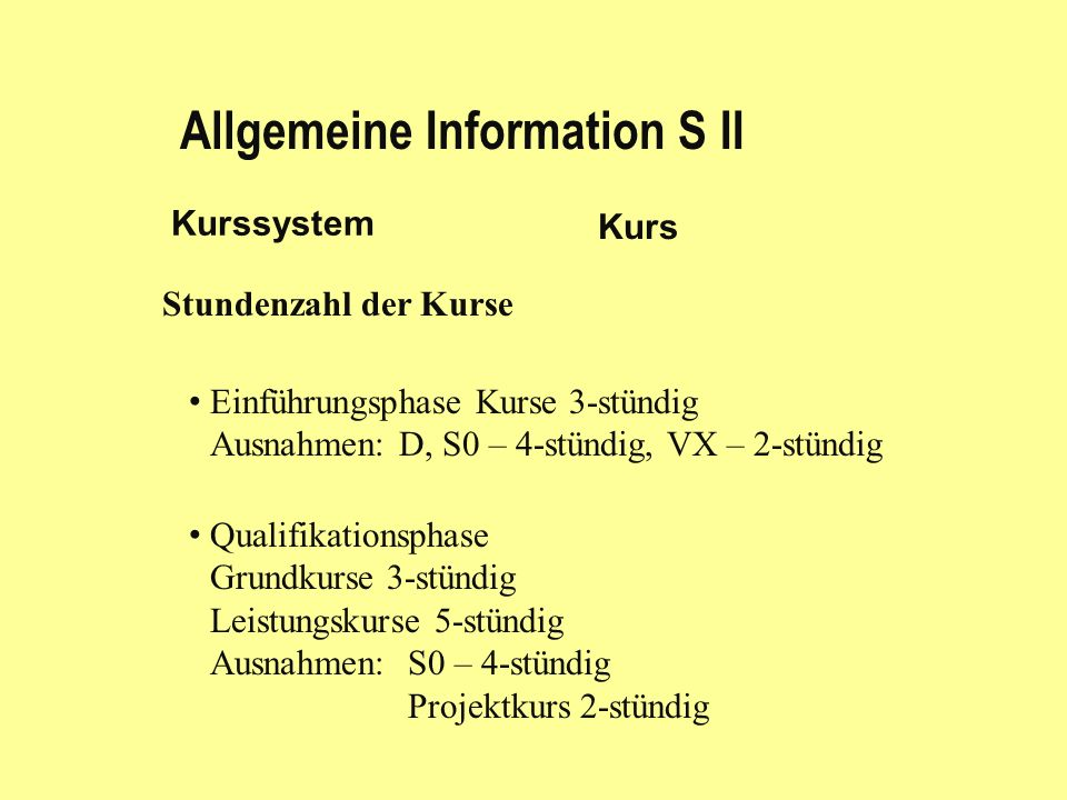 Allgemeine Information S II Kurssystem Kurs Stundenzahl der Kurse Einführungsphase Kurse 3-stündig Ausnahmen: D, S0 – 4-stündig, VX – 2-stündig Qualifikationsphase Grundkurse 3-stündig Leistungskurse 5-stündig Ausnahmen: S0 – 4-stündig Projektkurs 2-stündig