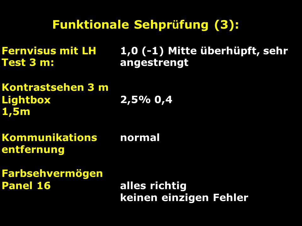 Funktionale Sehpr ü fung (3): Fernvisus mit LH Test 3 m: 1,0 (-1) Mitte überhüpft, sehr angestrengt Kontrastsehen 3 m Lightbox 1,5m 2,5% 0,4 Kommunika