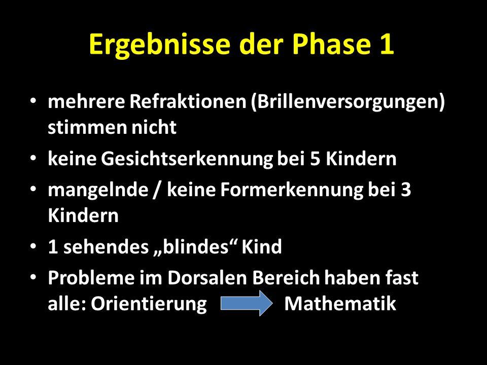 Ergebnisse der Phase 1 mehrere Refraktionen (Brillenversorgungen) stimmen nicht keine Gesichtserkennung bei 5 Kindern mangelnde / keine Formerkennung