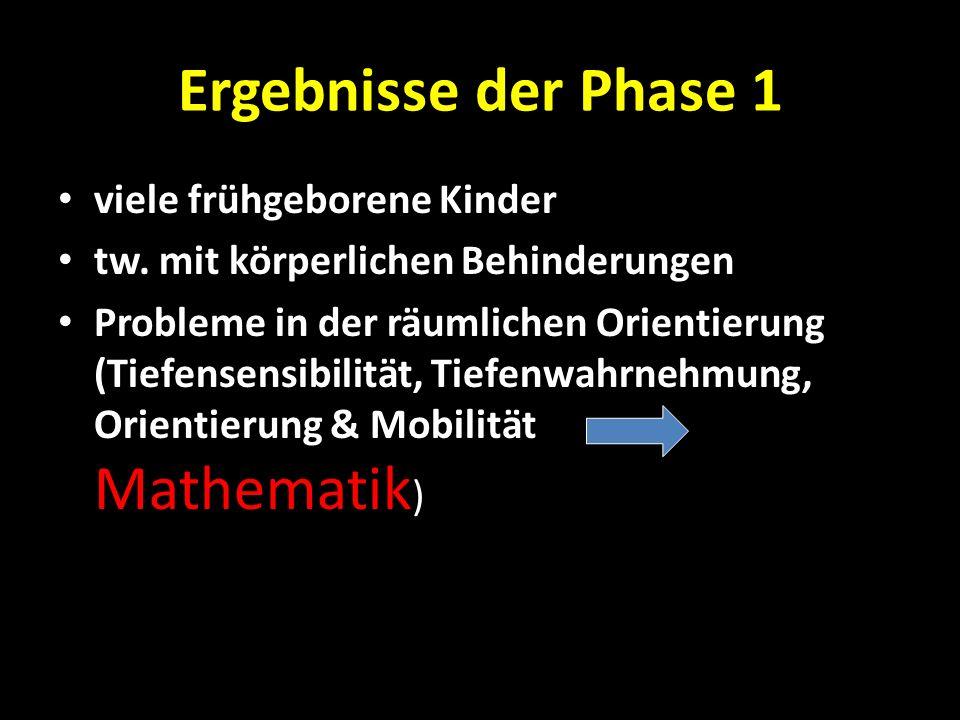 Ergebnisse der Phase 1 viele frühgeborene Kinder tw. mit körperlichen Behinderungen Probleme in der räumlichen Orientierung (Tiefensensibilität, Tiefe