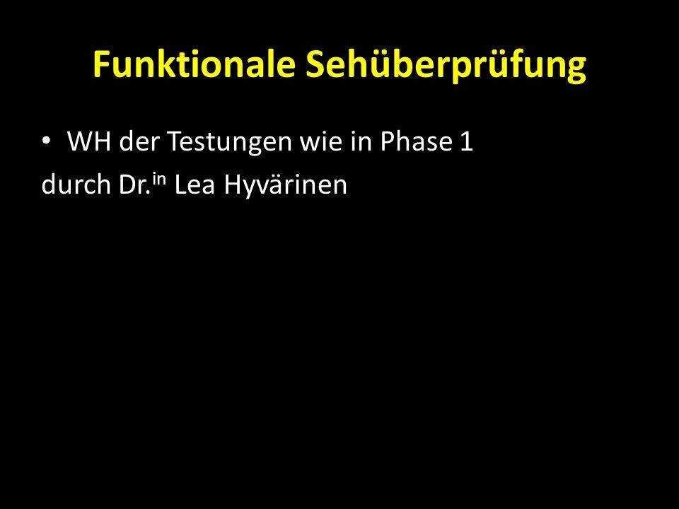 Funktionale Sehüberprüfung WH der Testungen wie in Phase 1 durch Dr. in Lea Hyvärinen