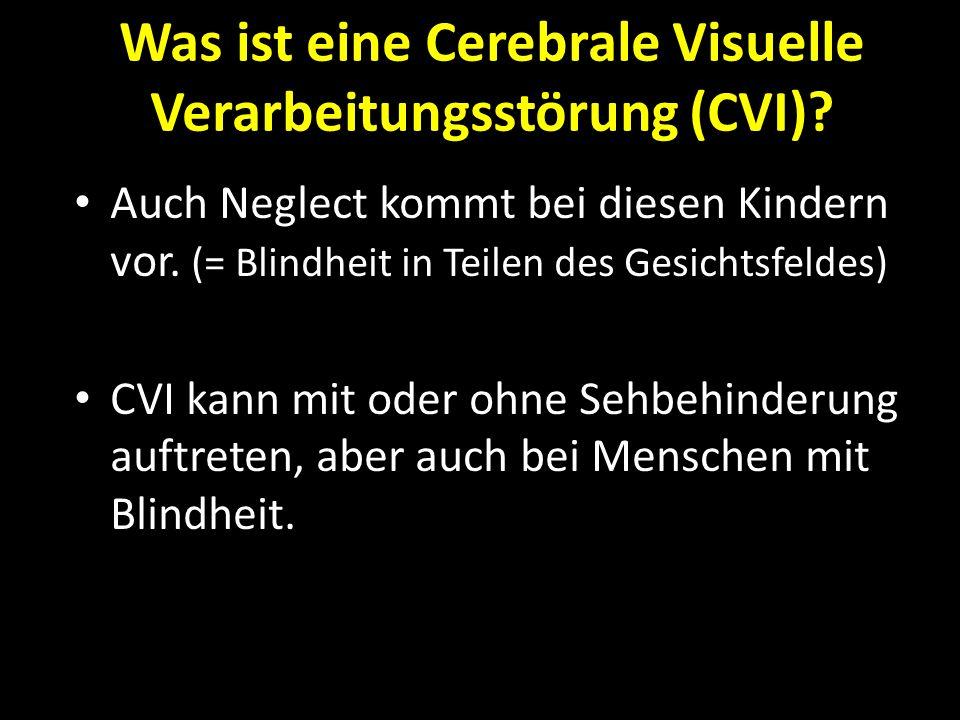 Was ist eine Cerebrale Visuelle Verarbeitungsstörung (CVI)? Auch Neglect kommt bei diesen Kindern vor. (= Blindheit in Teilen des Gesichtsfeldes) CVI