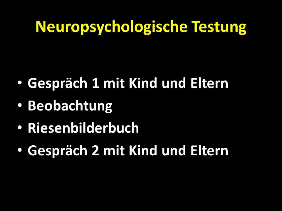 Neuropsychologische Testung Gespräch 1 mit Kind und Eltern Beobachtung Riesenbilderbuch Gespräch 2 mit Kind und Eltern