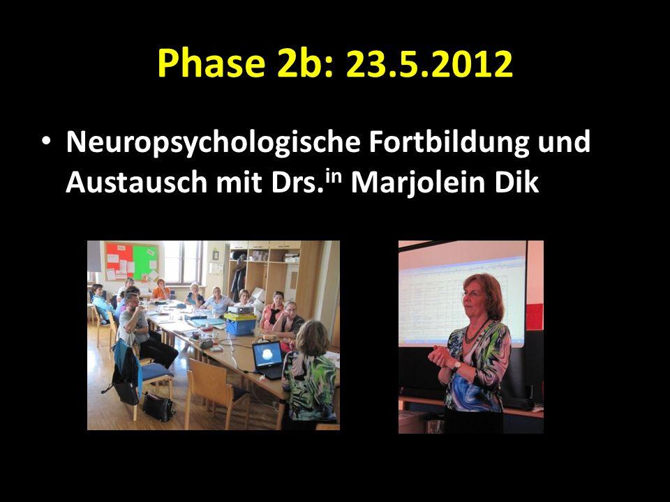 Phase 2b: 23.5.2012 Neuropsychologische Fortbildung und Austausch mit Drs. in Marjolein Dik