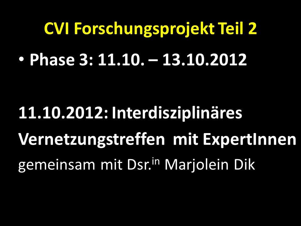 CVI Forschungsprojekt Teil 2 Phase 3: 11.10. – 13.10.2012 11.10.2012: Interdisziplinäres Vernetzungstreffen mit ExpertInnen gemeinsam mit Dsr. in Marj