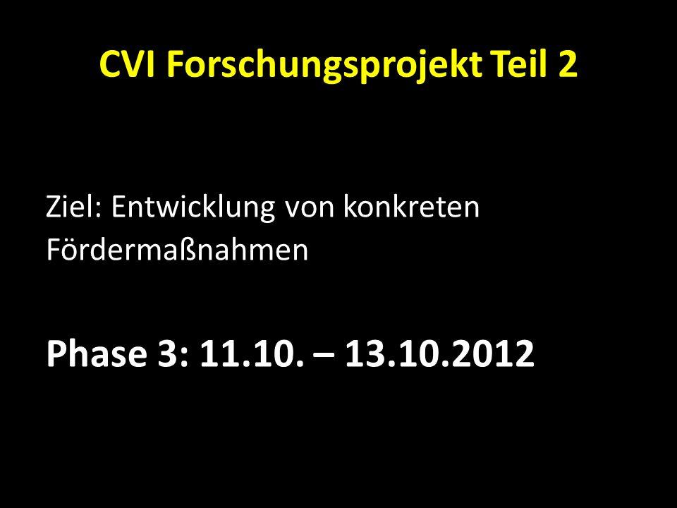 CVI Forschungsprojekt Teil 2 Ziel: Entwicklung von konkreten Fördermaßnahmen Phase 3: 11.10. – 13.10.2012