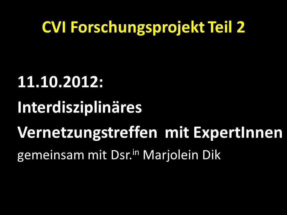 CVI Forschungsprojekt Teil 2 11.10.2012: Interdisziplinäres Vernetzungstreffen mit ExpertInnen gemeinsam mit Dsr. in Marjolein Dik