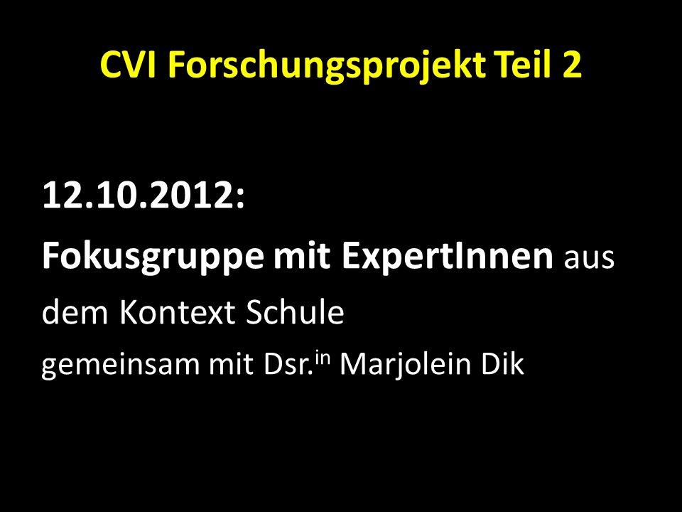 CVI Forschungsprojekt Teil 2 12.10.2012: Fokusgruppe mit ExpertInnen aus dem Kontext Schule gemeinsam mit Dsr. in Marjolein Dik