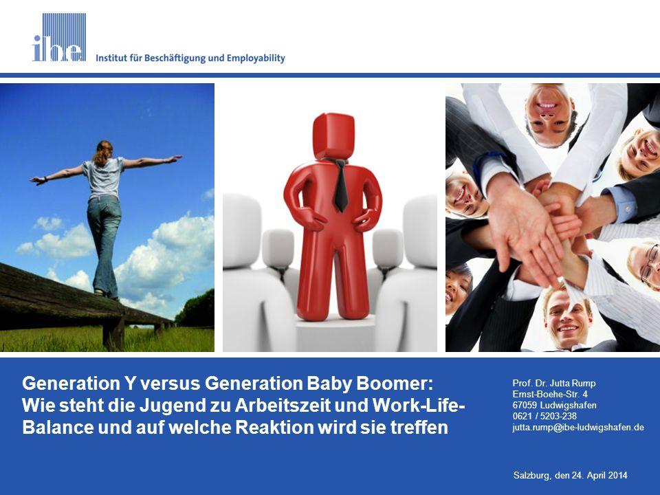 Generation Y versus Generation Baby Boomer: Wie steht die Jugend zu Arbeitszeit und Work-Life- Balance und auf welche Reaktion wird sie treffen Prof.