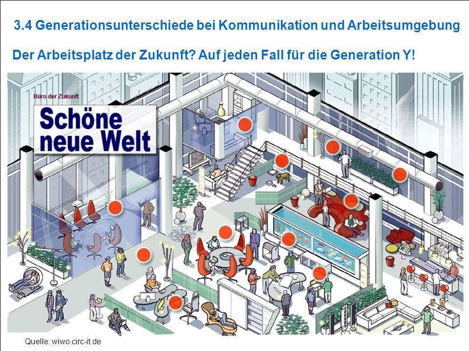 S13 Quelle: wiwo.circ-it.de Der Arbeitsplatz der Zukunft? Auf jeden Fall für die Generation Y! 3.4 Generationsunterschiede bei Kommunikation und Arbei
