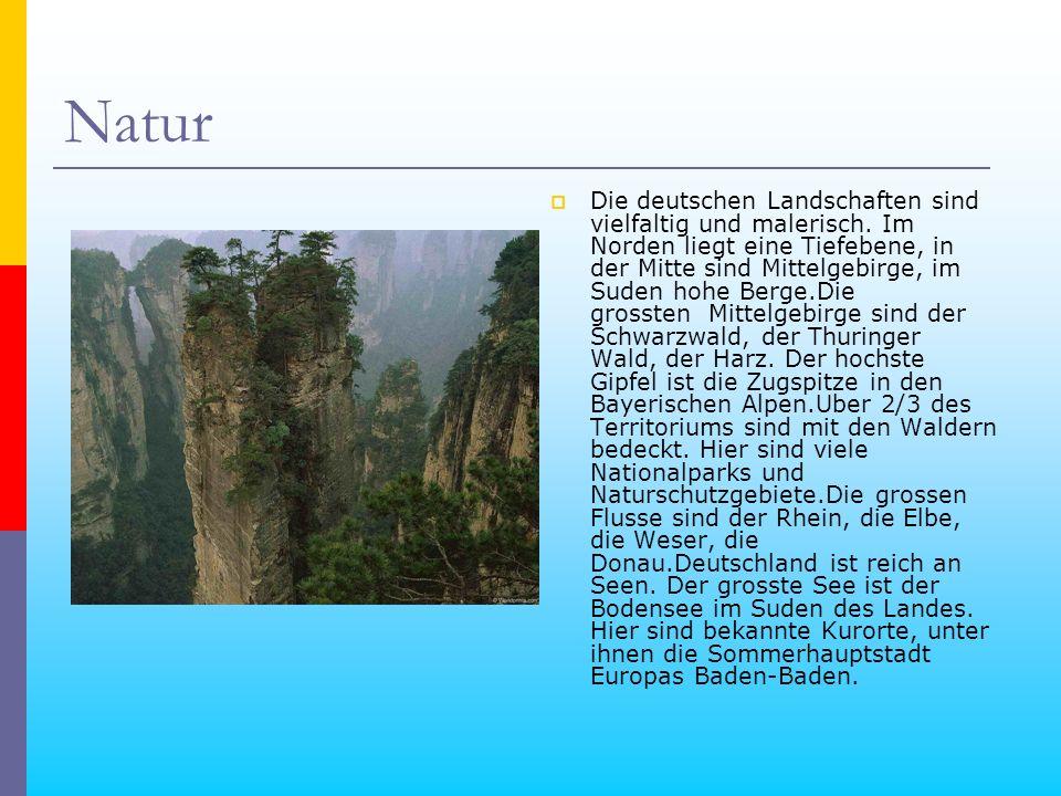 Natur Die deutschen Landschaften sind vielfaltig und malerisch. Im Norden liegt eine Tiefebene, in der Mitte sind Mittelgebirge, im Suden hohe Berge.D
