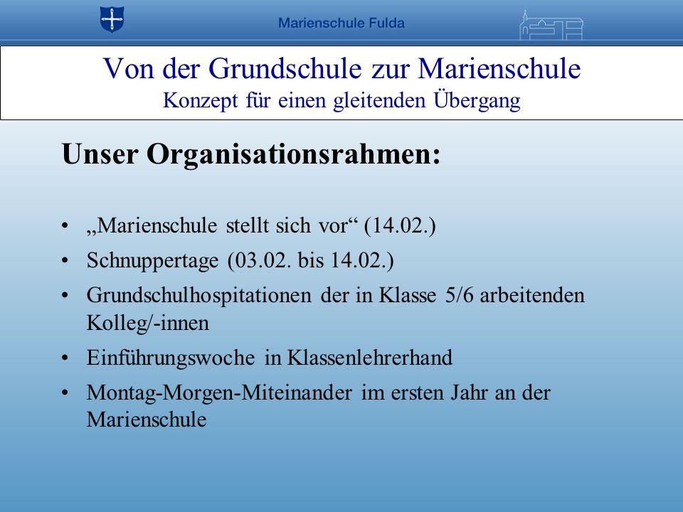 Von der Grundschule zur Marienschule Konzept für einen gleitenden Übergang Unser Organisationsrahmen: Marienschule stellt sich vor (14.02.) Schnuppert