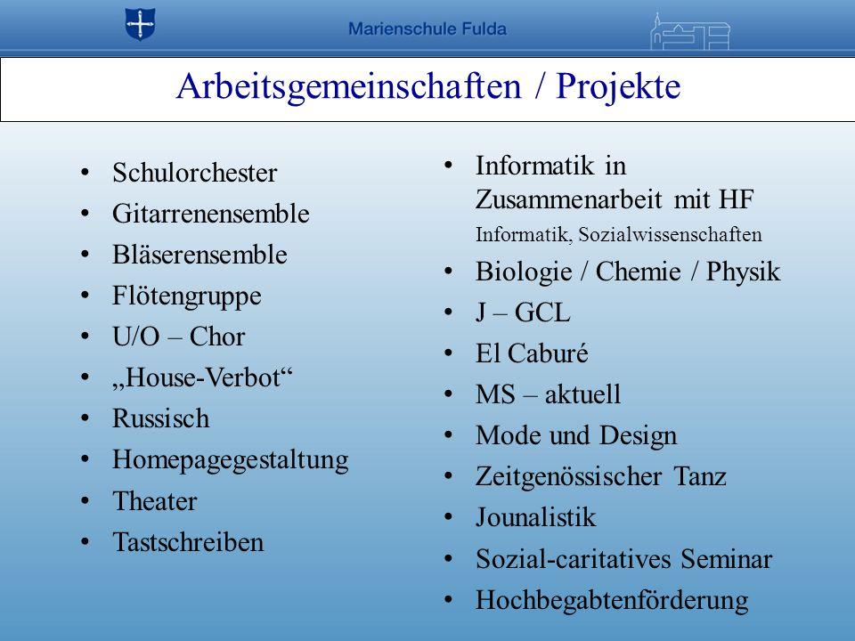 Arbeitsgemeinschaften / Projekte Schulorchester Gitarrenensemble Bläserensemble Flötengruppe U/O – Chor House-Verbot Russisch Homepagegestaltung Theat