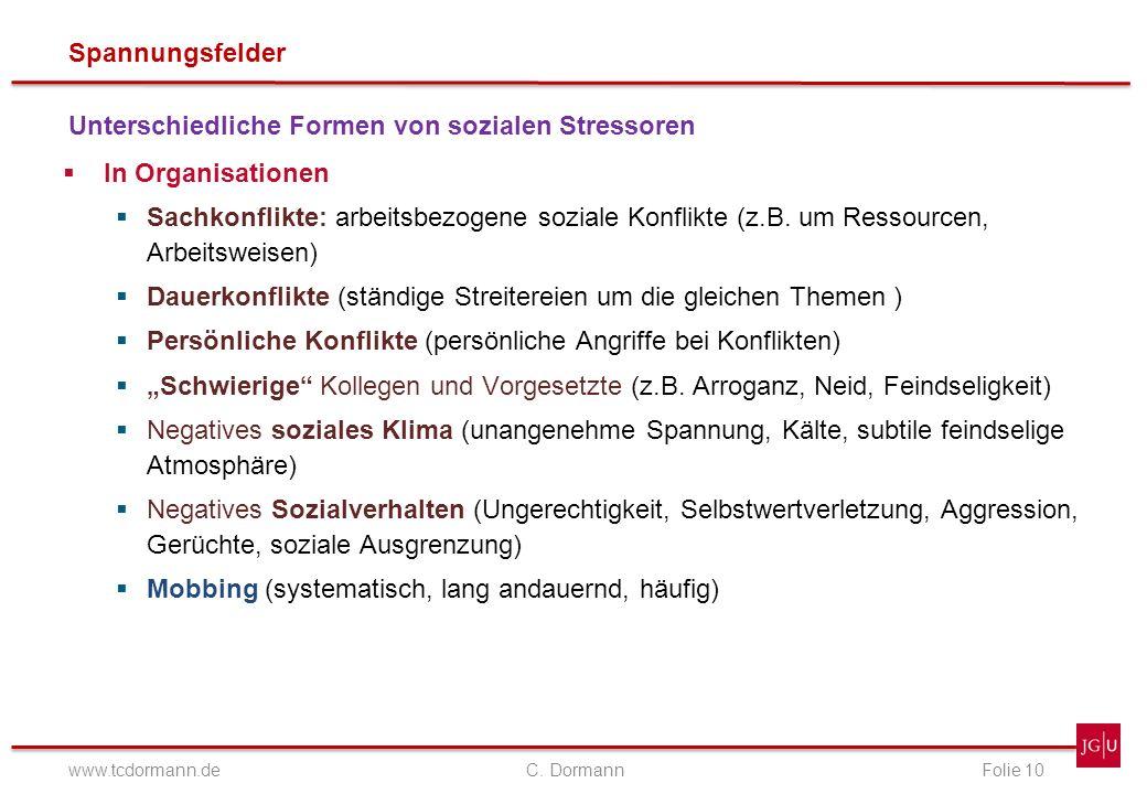 Spannungsfelder www.tcdormann.de C. DormannFolie 10 Unterschiedliche Formen von sozialen Stressoren In Organisationen Sachkonflikte: arbeitsbezogene s