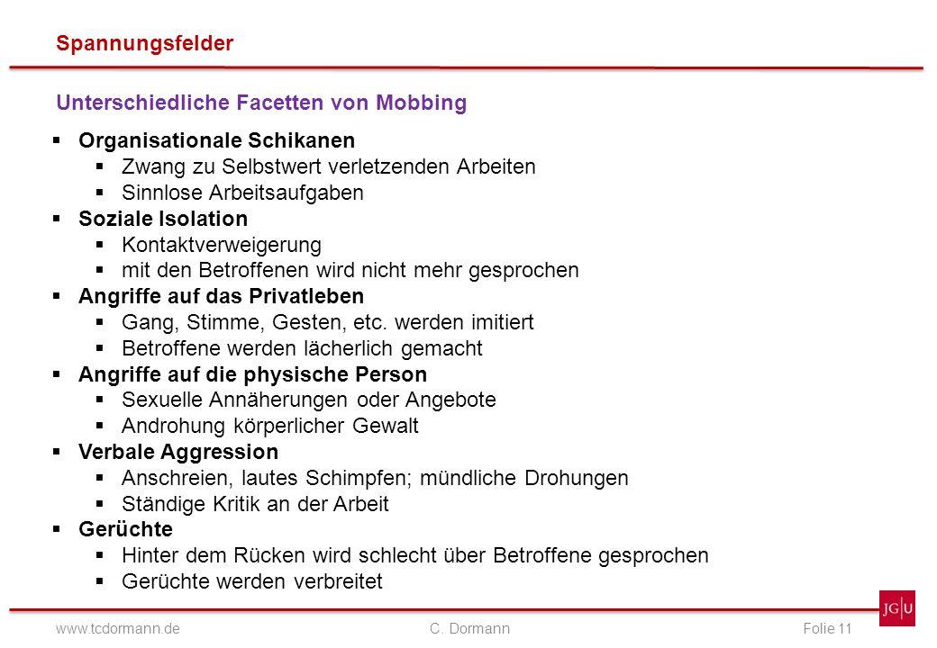 Spannungsfelder www.tcdormann.de C. DormannFolie 11 Unterschiedliche Facetten von Mobbing Organisationale Schikanen Zwang zu Selbstwert verletzenden A