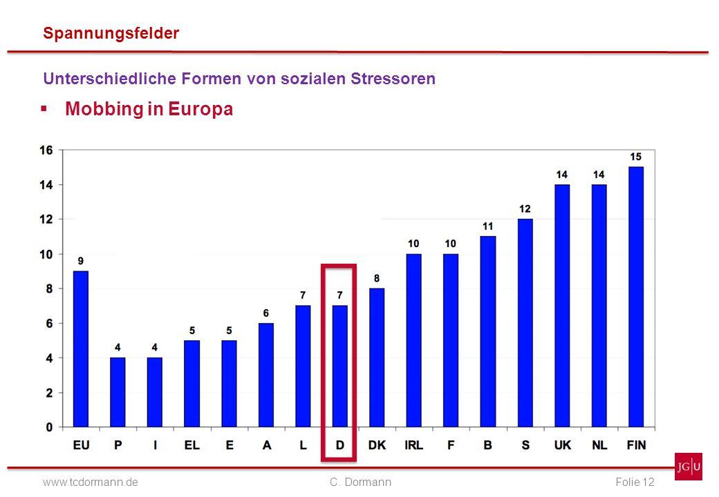 Spannungsfelder www.tcdormann.de C. DormannFolie 12 Unterschiedliche Formen von sozialen Stressoren Mobbing in Europa