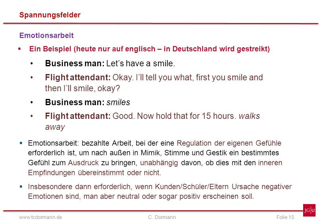 Spannungsfelder www.tcdormann.de C. DormannFolie 15 Emotionsarbeit Ein Beispiel (heute nur auf englisch – in Deutschland wird gestreikt) Business man: