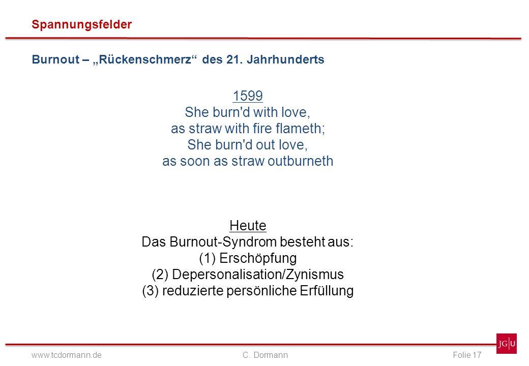 Spannungsfelder www.tcdormann.de C. DormannFolie 17 Burnout – Rückenschmerz des 21. Jahrhunderts 1599 She burn'd with love, as straw with fire flameth