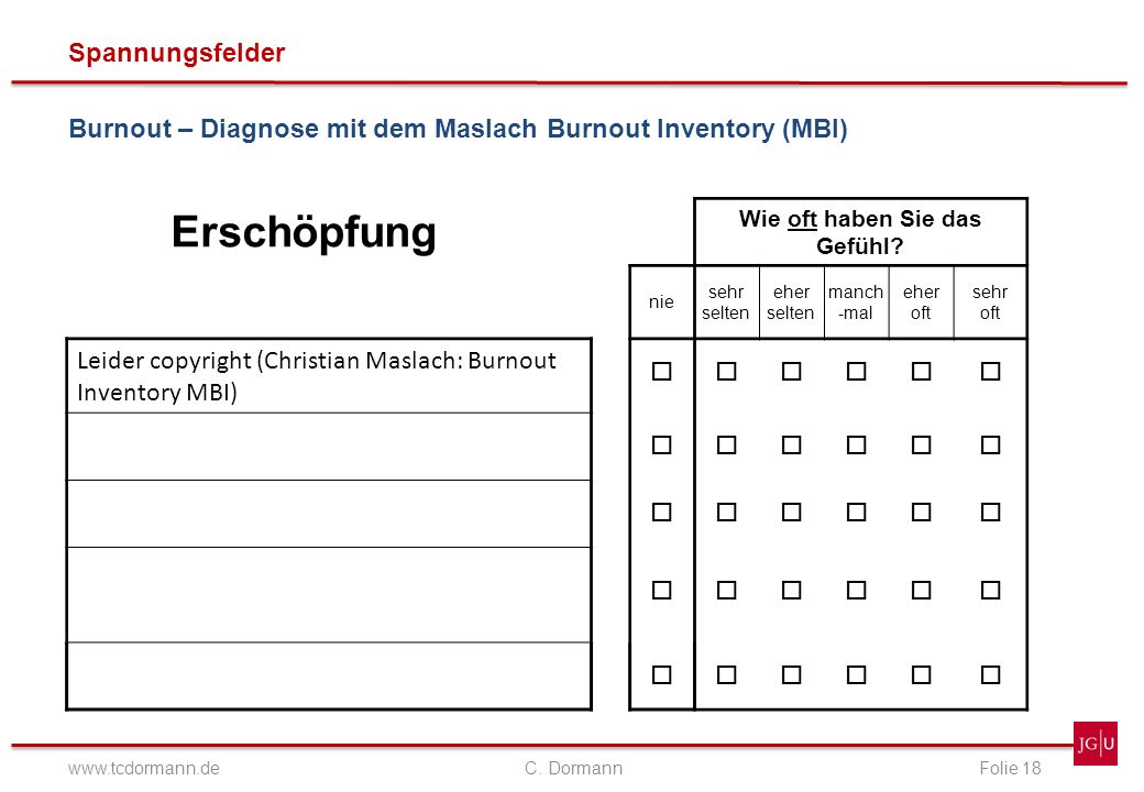 Spannungsfelder www.tcdormann.de C. DormannFolie 18 Burnout – Diagnose mit dem Maslach Burnout Inventory (MBI) Erschöpfung Wie oft haben Sie das Gefüh