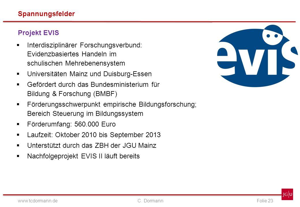 Spannungsfelder www.tcdormann.de C. DormannFolie 23 Projekt EVIS Interdisziplinärer Forschungsverbund: Evidenzbasiertes Handeln im schulischen Mehrebe