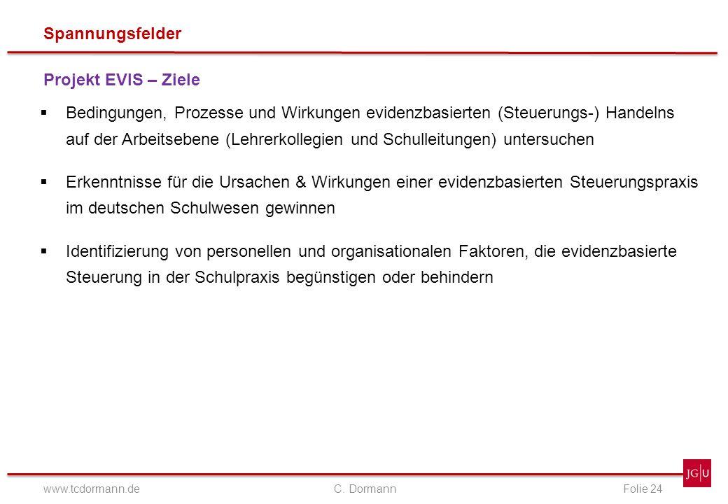 Spannungsfelder www.tcdormann.de C. DormannFolie 24 Projekt EVIS – Ziele Bedingungen, Prozesse und Wirkungen evidenzbasierten (Steuerungs-) Handelns a