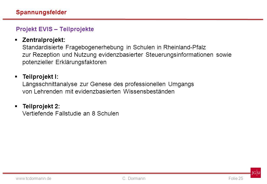 Spannungsfelder www.tcdormann.de C. DormannFolie 25 Projekt EVIS – Teilprojekte Zentralprojekt: Standardisierte Fragebogenerhebung in Schulen in Rhein