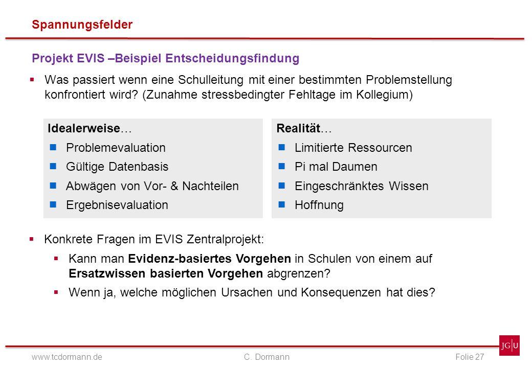 Spannungsfelder www.tcdormann.de C. DormannFolie 27 Projekt EVIS –Beispiel Entscheidungsfindung Was passiert wenn eine Schulleitung mit einer bestimmt