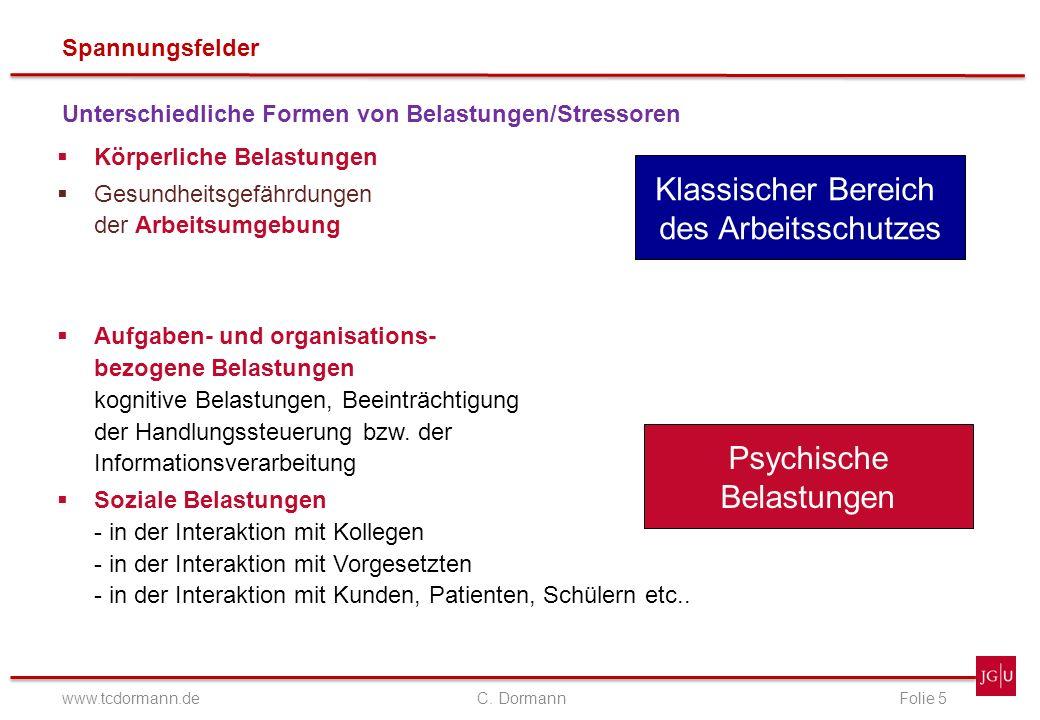 Spannungsfelder www.tcdormann.de C. DormannFolie 5 Unterschiedliche Formen von Belastungen/Stressoren Körperliche Belastungen Gesundheitsgefährdungen