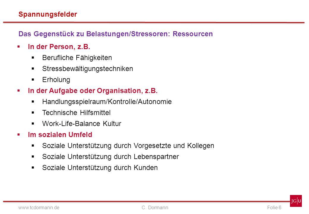 Spannungsfelder www.tcdormann.de C. DormannFolie 6 Das Gegenstück zu Belastungen/Stressoren: Ressourcen In der Person, z.B. Berufliche Fähigkeiten Str