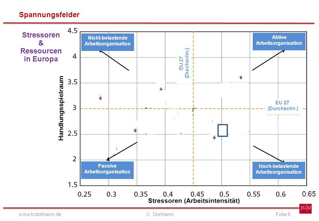 Spannungsfelder www.tcdormann.de C. DormannFolie 8 Stressoren & Ressourcen in Europa Stressoren (Arbeitsintensität) Handlungsspielraum Nicht-belastend