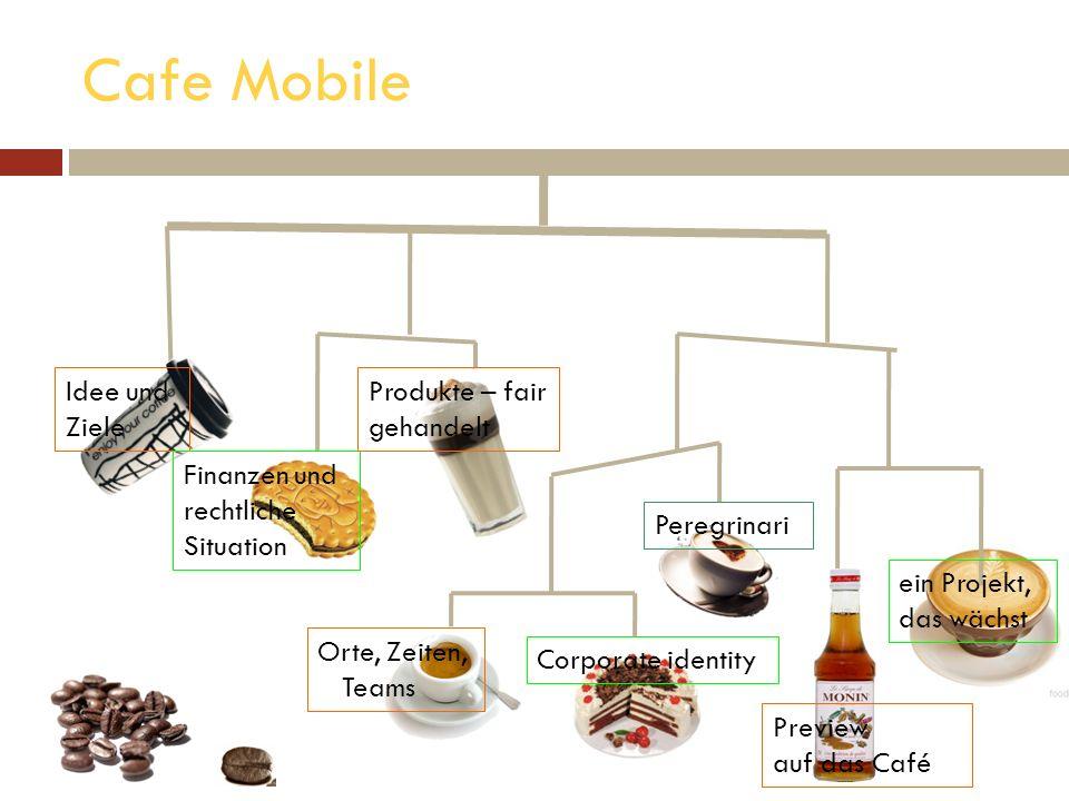Cafe Mobile Idee und Ziele Finanzen und rechtliche Situation Produkte – fair gehandelt Peregrinari Preview auf das Café Orte, Zeiten, Teams Corporate