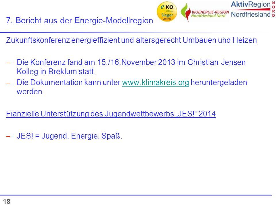 18 7. Bericht aus der Energie-Modellregion Zukunftskonferenz energieffizient und altersgerecht Umbauen und Heizen –Die Konferenz fand am 15./16.Novemb