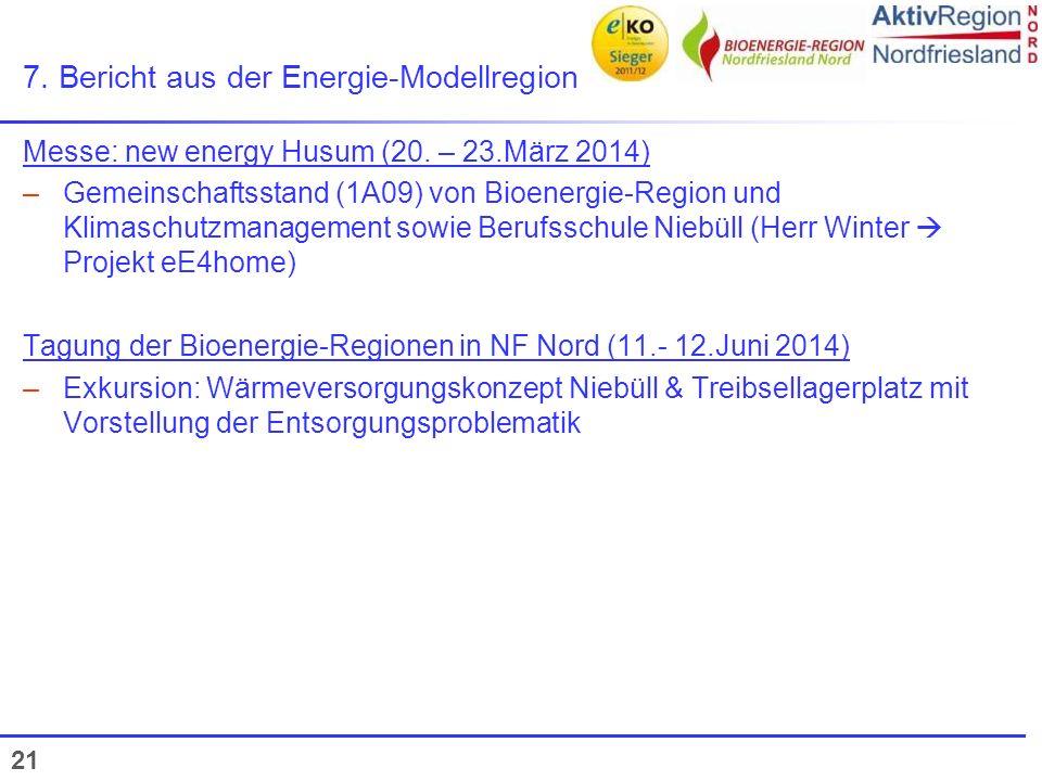 21 7. Bericht aus der Energie-Modellregion Messe: new energy Husum (20. – 23.März 2014) –Gemeinschaftsstand (1A09) von Bioenergie-Region und Klimaschu