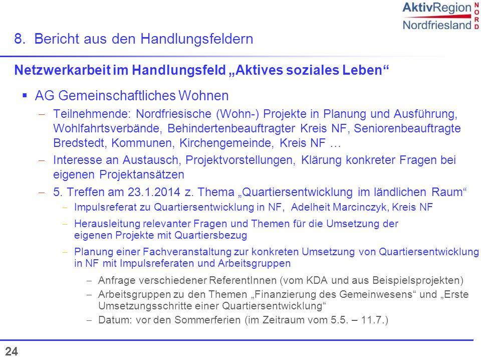 24 Netzwerkarbeit im Handlungsfeld Aktives soziales Leben AG Gemeinschaftliches Wohnen Teilnehmende: Nordfriesische (Wohn-) Projekte in Planung und Au