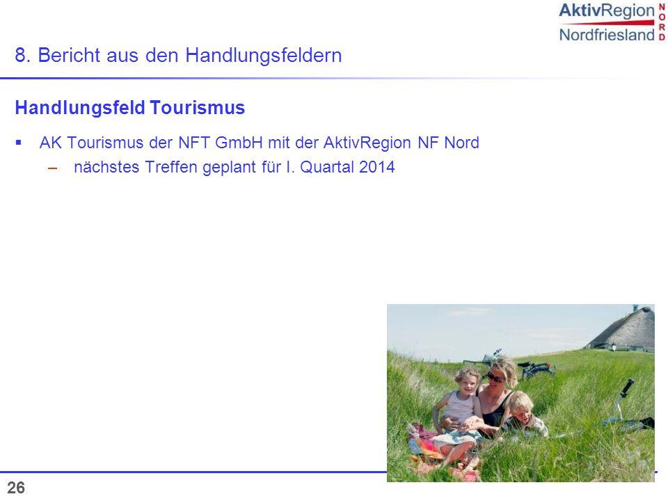 26 8. Bericht aus den Handlungsfeldern Handlungsfeld Tourismus AK Tourismus der NFT GmbH mit der AktivRegion NF Nord – nächstes Treffen geplant für I.