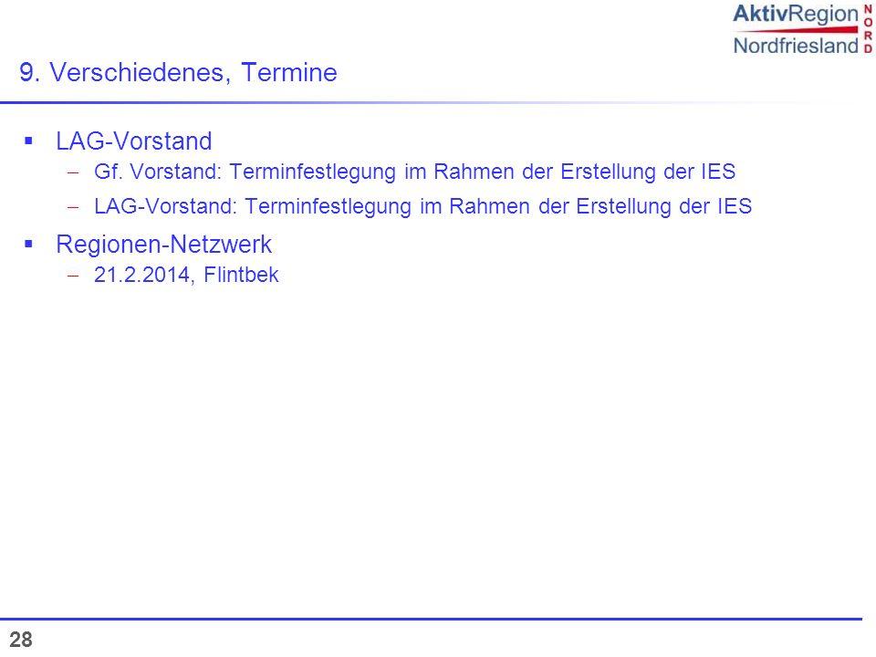 28 9. Verschiedenes, Termine LAG-Vorstand Gf. Vorstand: Terminfestlegung im Rahmen der Erstellung der IES LAG-Vorstand: Terminfestlegung im Rahmen der