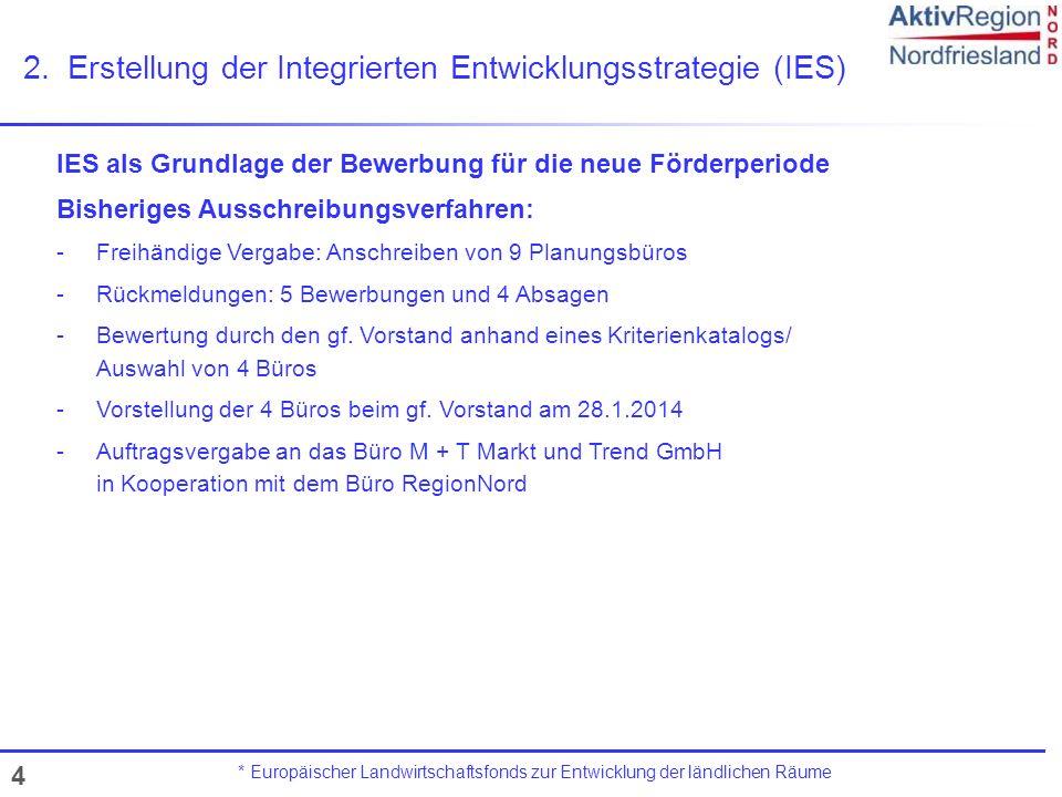 4 2.Erstellung der Integrierten Entwicklungsstrategie (IES) * Europäischer Landwirtschaftsfonds zur Entwicklung der ländlichen Räume IES als Grundlage