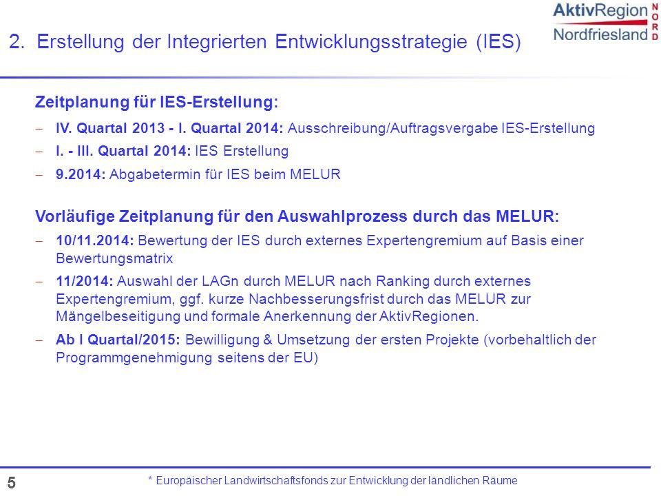 5 2.Erstellung der Integrierten Entwicklungsstrategie (IES) * Europäischer Landwirtschaftsfonds zur Entwicklung der ländlichen Räume Zeitplanung für I