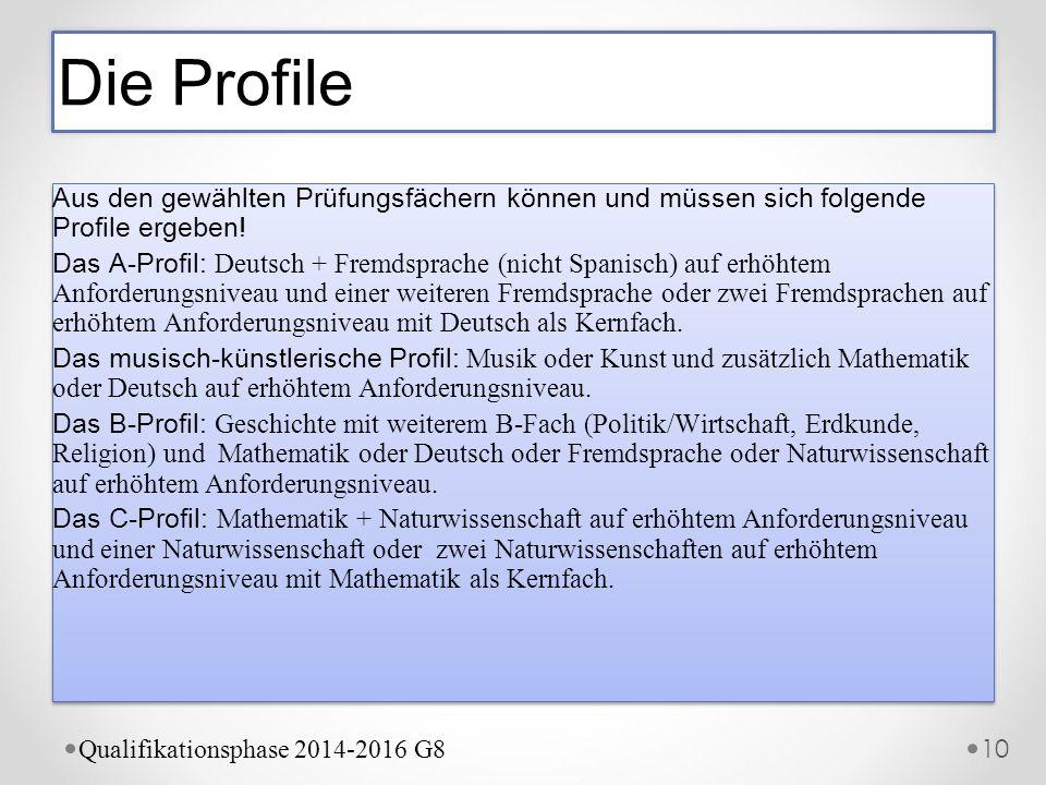 Aus den gewählten Prüfungsfächern können und müssen sich folgende Profile ergeben! Das A-Profil: Deutsch + Fremdsprache (nicht Spanisch) auf erhöhtem