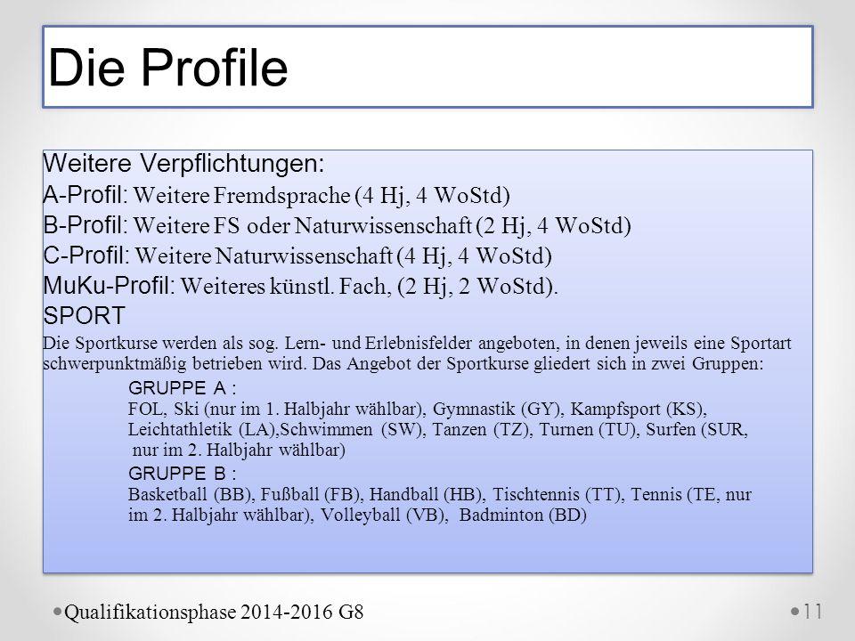 Weitere Verpflichtungen: A-Profil: Weitere Fremdsprache (4 Hj, 4 WoStd) B-Profil: Weitere FS oder Naturwissenschaft (2 Hj, 4 WoStd) C-Profil: Weitere