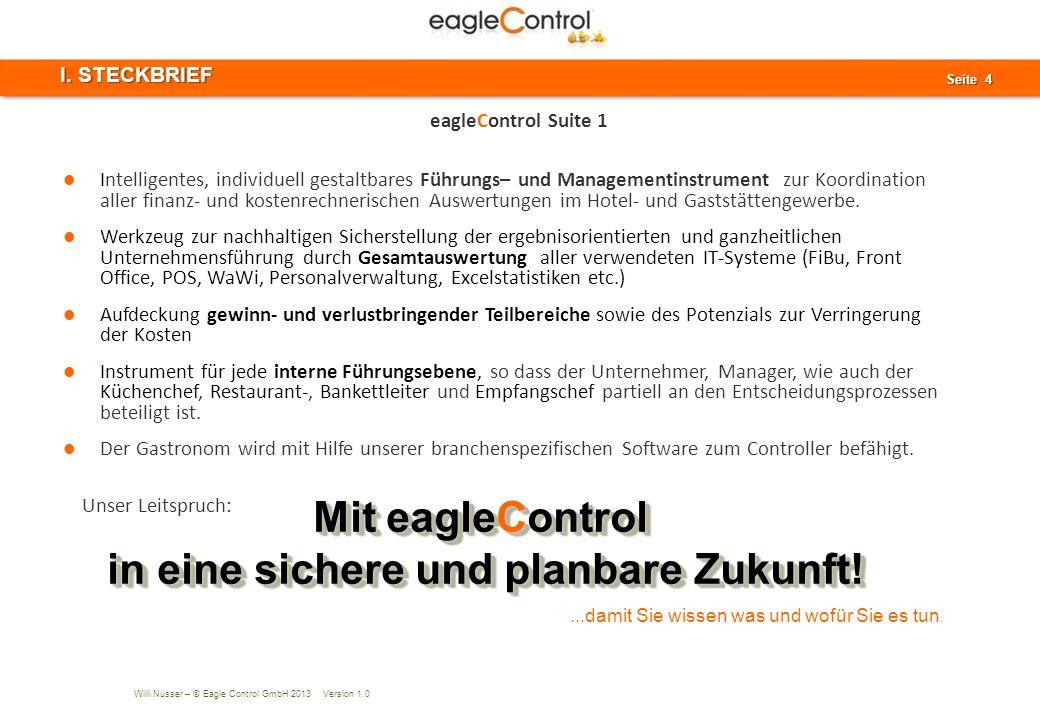 Willi Nusser – © Eagle Control GmbH 2013 Version 1.0 Seite 15 Seite 15 IV. Berichtswesen AGENDA