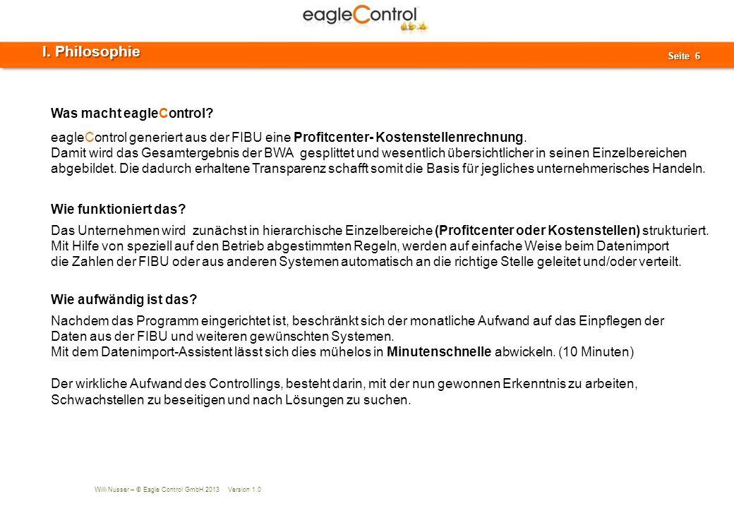 Willi Nusser – © Eagle Control GmbH 2013 Version 1.0 Seite 7 Seite 7 Datenimport aus Finanzbuchhaltung, Front Office, WaWi und POS-Systemen etc.